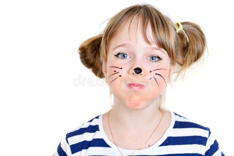 Menina pequena do rato com cara engraçada foto de stock