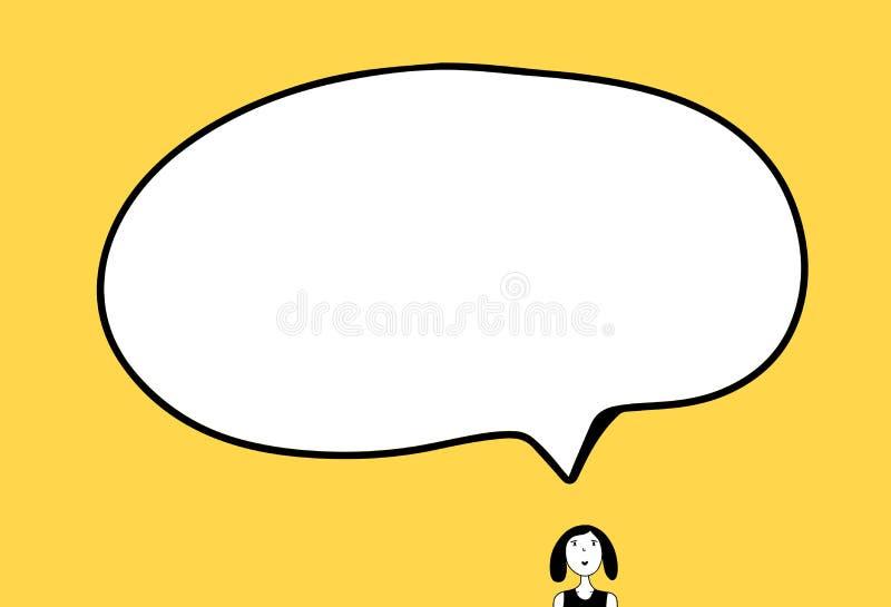 Menina pequena e ilustração tirada da bolha do discurso mão grande no estilo dos desenhos animados ilustração stock
