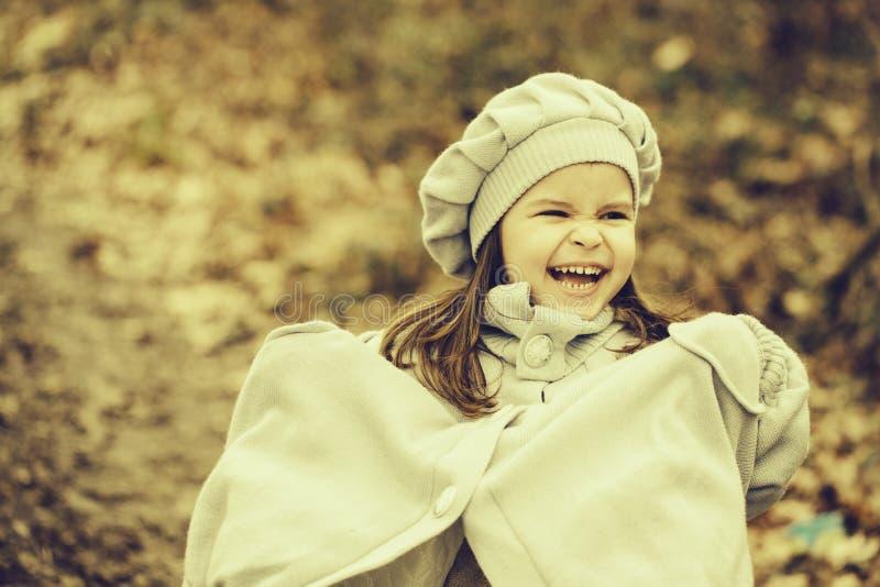 Menina pequena na floresta do outono fotos de stock royalty free