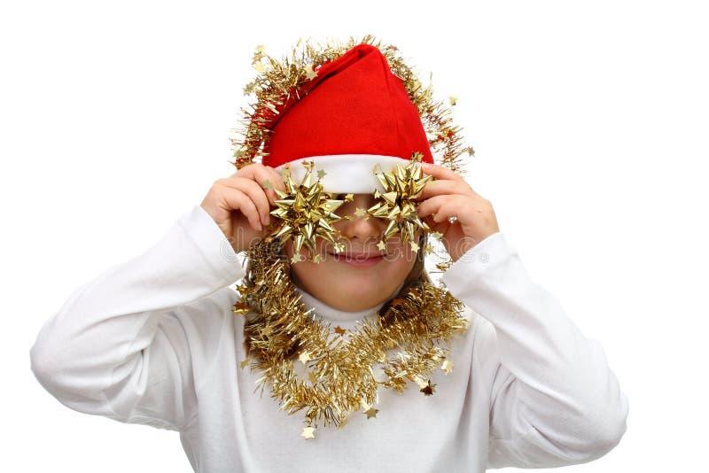 Download Menina Pequena No Chapéu Vermelho De Santa Com Correntes Douradas Foto de Stock - Imagem de vermelho, corte: 16867522