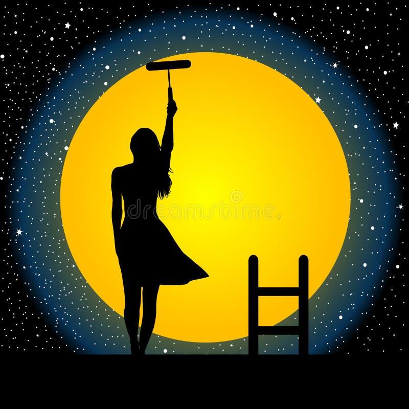 A menina pinta a lua e as estrelas ilustração royalty free