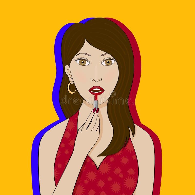 A menina pinta seus bordos com batom vermelho ilustração royalty free