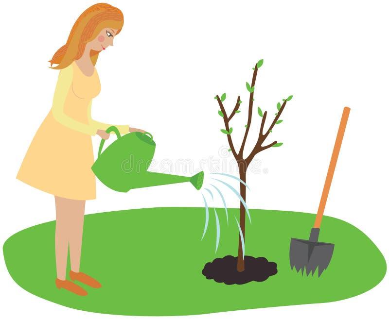 A menina plantou uma árvore e molhou-a de um sistema de extinção de incêndios ilustração do vetor