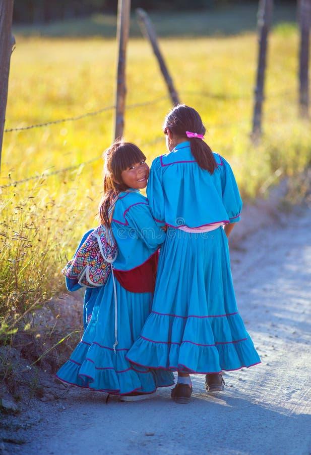 Menina pobre nativa da escola no vestido colorido tradicional com sorriso feliz, México, América imagens de stock royalty free