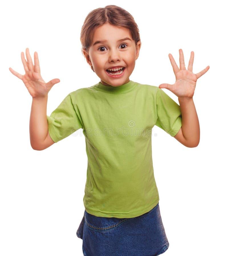 Menina pouco surpresa alegre satisfeito isolada foto de stock royalty free