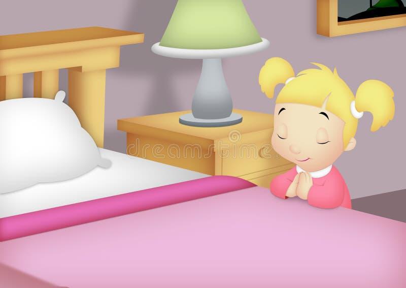Menina Praying no quarto ilustração stock