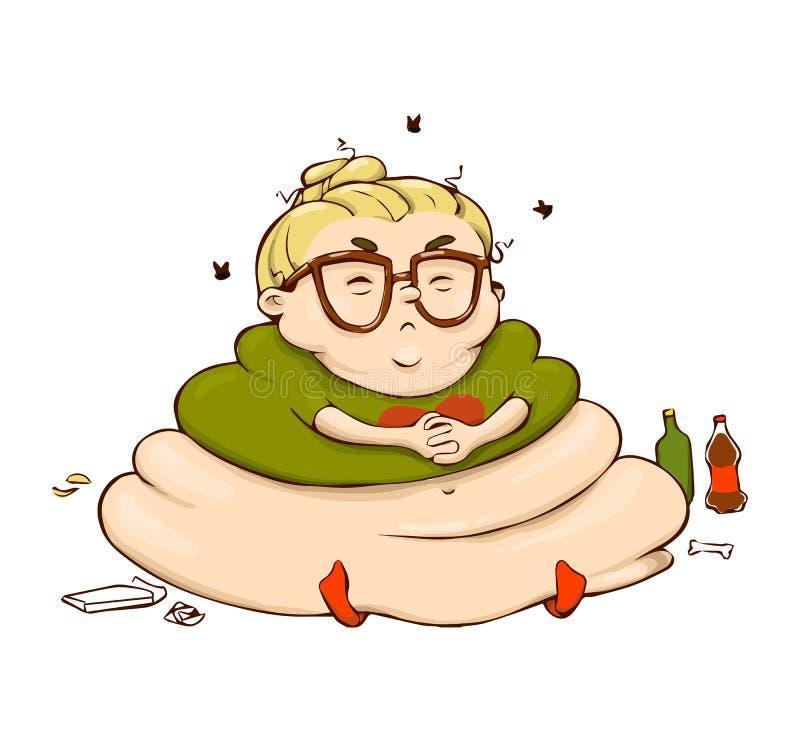 Menina preguiçosa engraçada dos desenhos animados Etiqueta isolada vetor da pessoa gorda ilustração do vetor