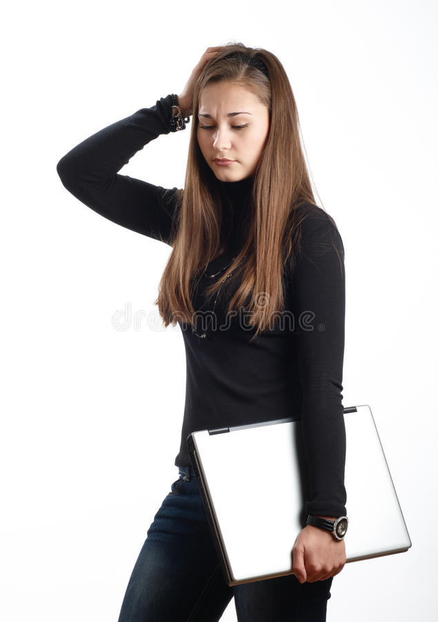 Menina preocupada do estudante foto de stock
