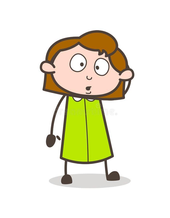 Menina preocupada que olha no vetor da maravilha ilustração do vetor