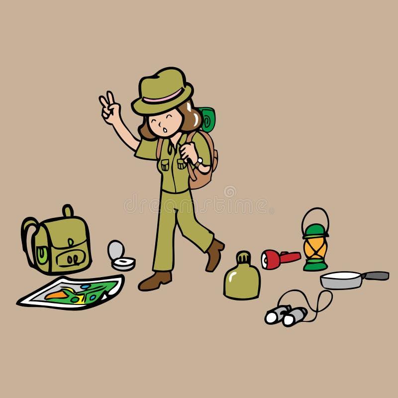 A menina prepara-se acampando ilustração stock