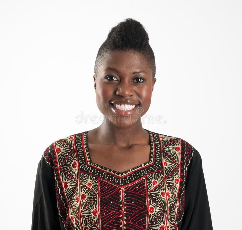 Menina preta com sorriso largo foto de stock