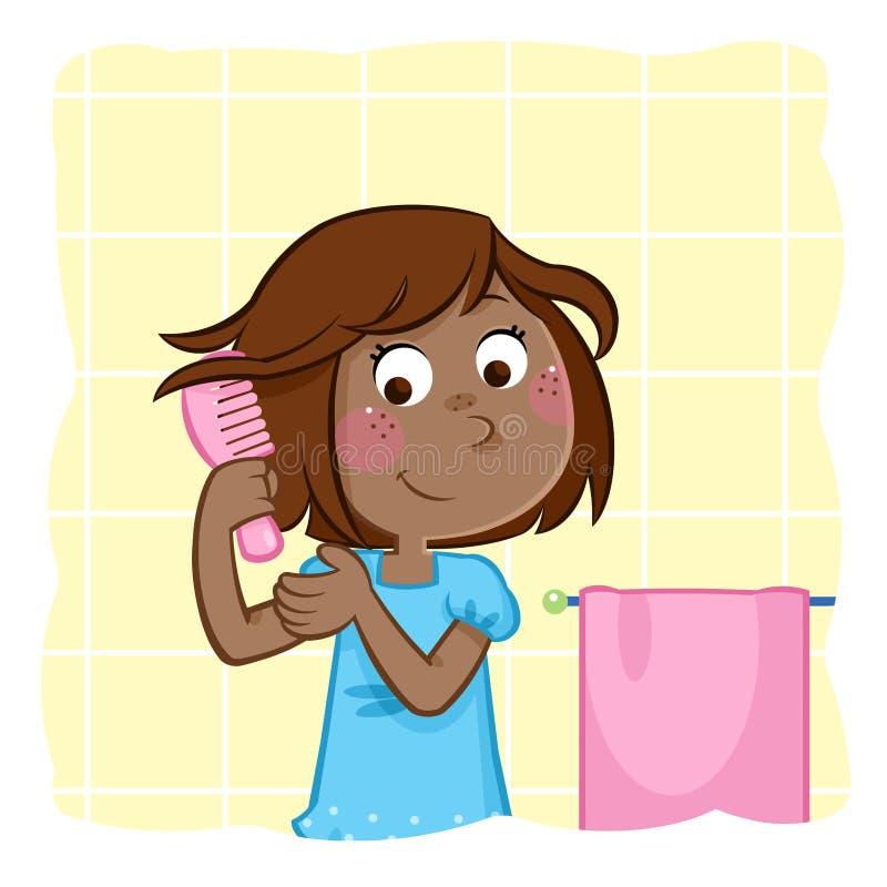 Menina preta pequena adorável que penteia o cabelo no banheiro ilustração stock