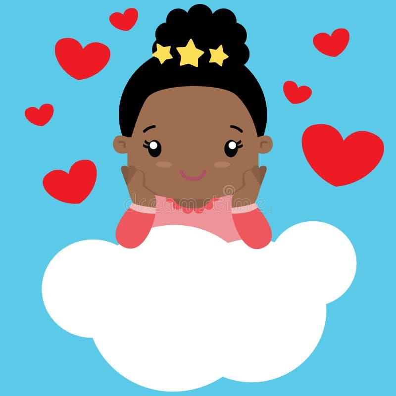 Menina preta pequena bonito no amor que senta-se em uma nuvem ilustração stock