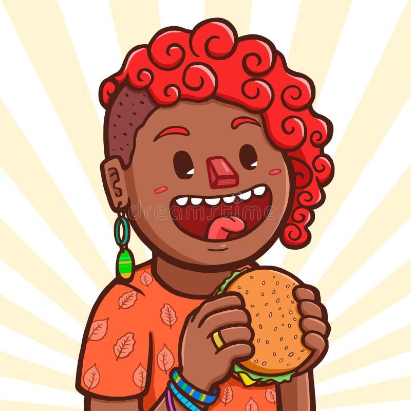 Menina preta que come o Hamburger ilustração royalty free