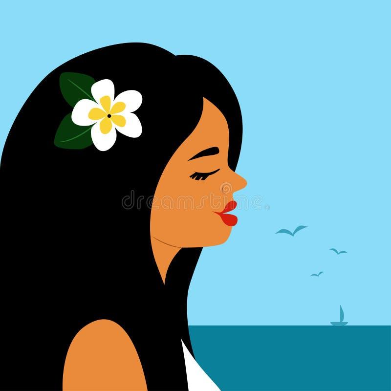 Menina preto-de cabelo bronzeada bonita na frente do mar ilustração do vetor