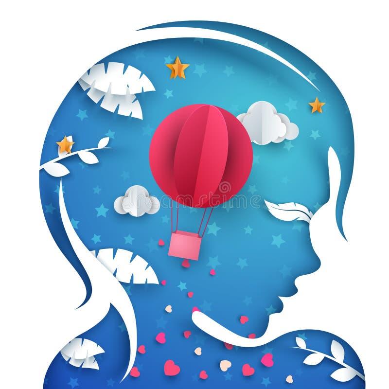 Menina principal de papel bonita Ilustração do balão de ar ilustração stock