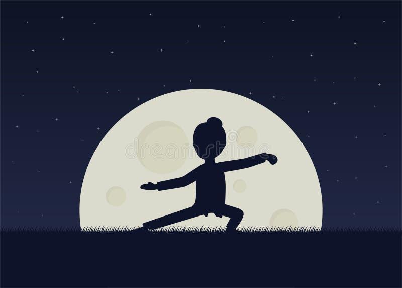 Menina qigong de execução ou exercícios taijiquan na noite ilustração royalty free