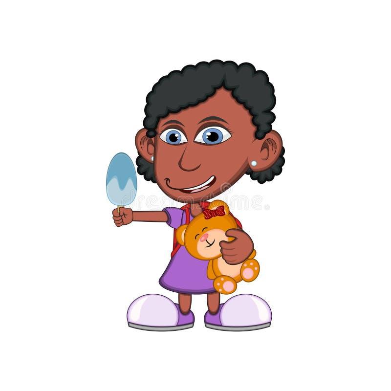 Menina que abraça um urso de peluche e que come a ilustração do vetor dos desenhos animados do gelado ilustração do vetor