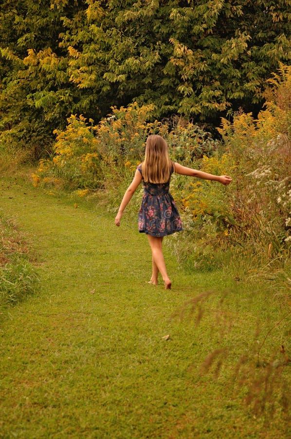 Menina que anda ao lado das flores selvagens do prado foto de stock royalty free