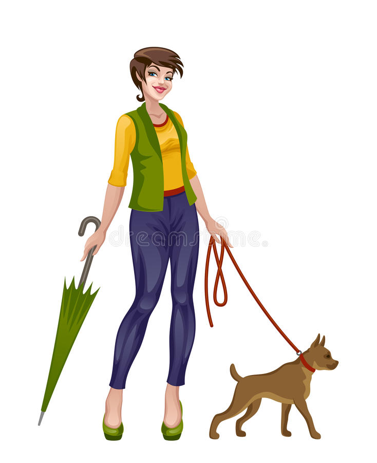 Menina que anda com cão ilustração do vetor