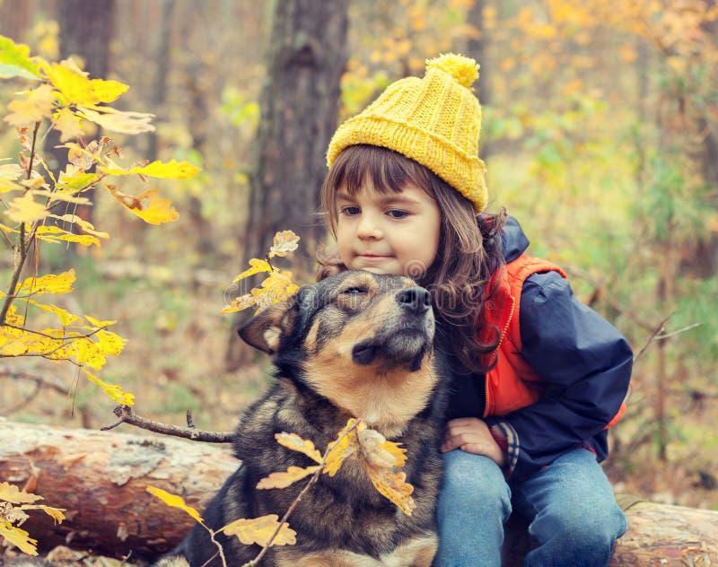 Menina que anda com cão imagens de stock