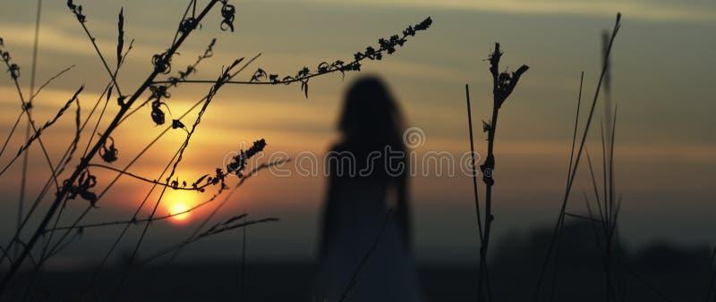 Menina que anda no por do sol imagens de stock royalty free