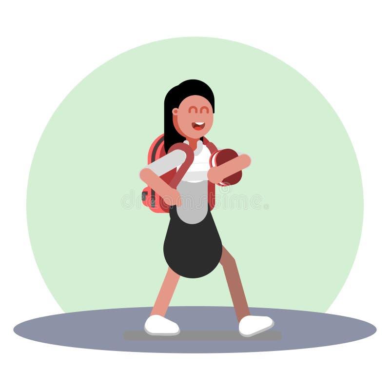 Menina que anda no uniforme ilustração stock