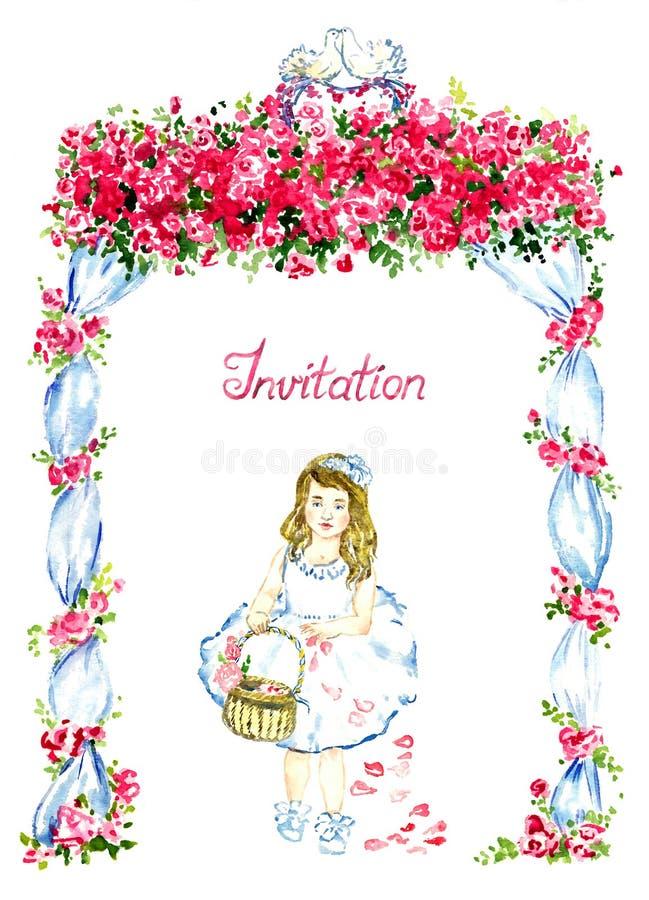 Menina que anda sob o miradouro do casamento decorado com rosas vermelhas e os dois pombos de beijo na parte superior e que dispe ilustração do vetor