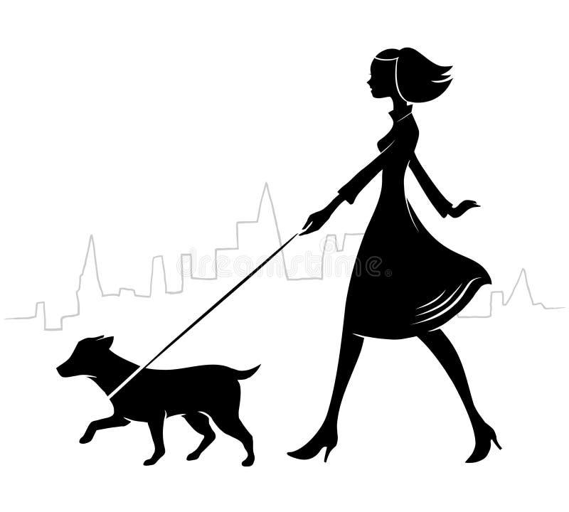 Menina que anda um cão ilustração do vetor