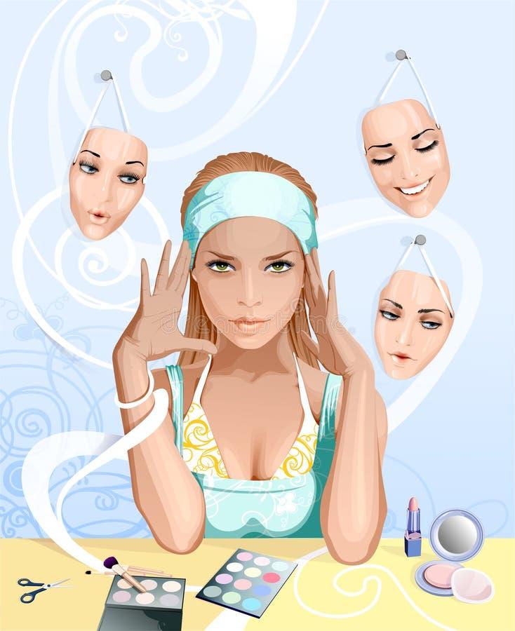Menina que aplica cosméticos ilustração royalty free
