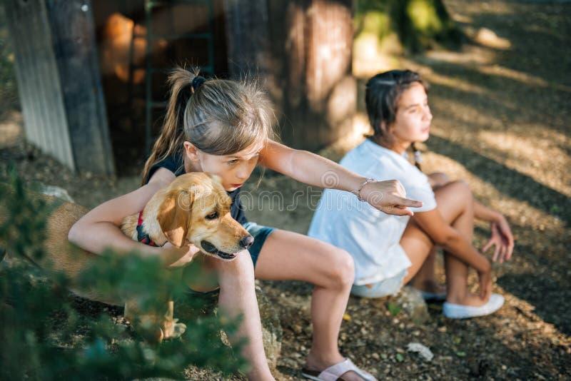 Menina que aponta e que abraça seu cão em um campo de jogos imagens de stock royalty free