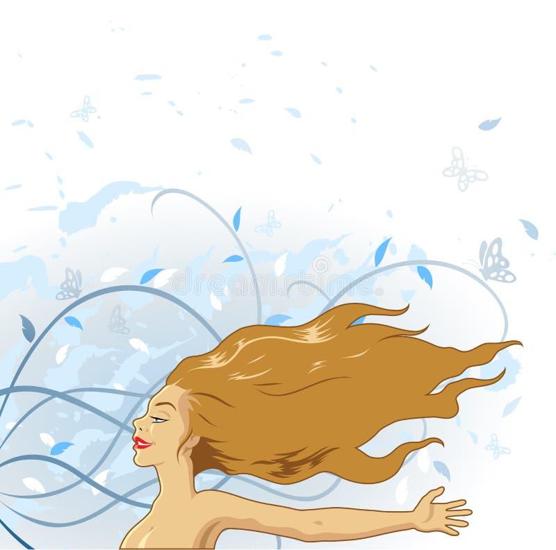 Menina que aprecia o vento ilustração do vetor