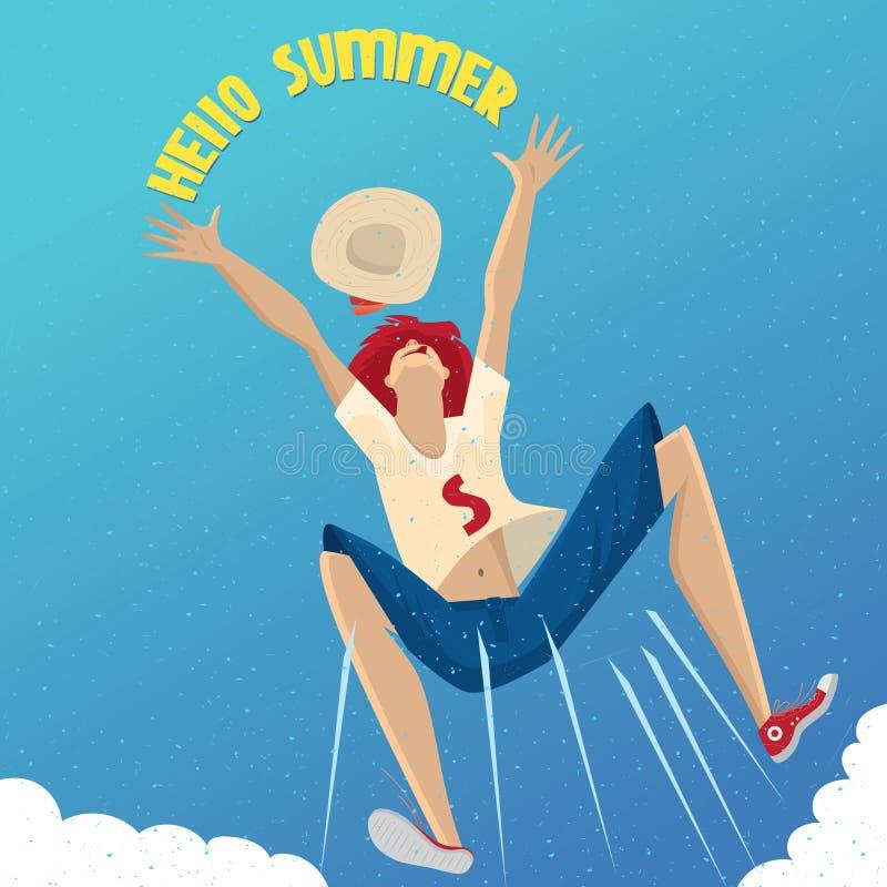 Menina que aprecia o verão ilustração royalty free