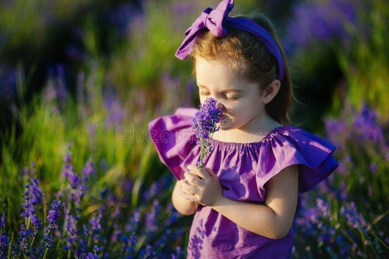 Menina que aspira o perfume da flor azul fotos de stock