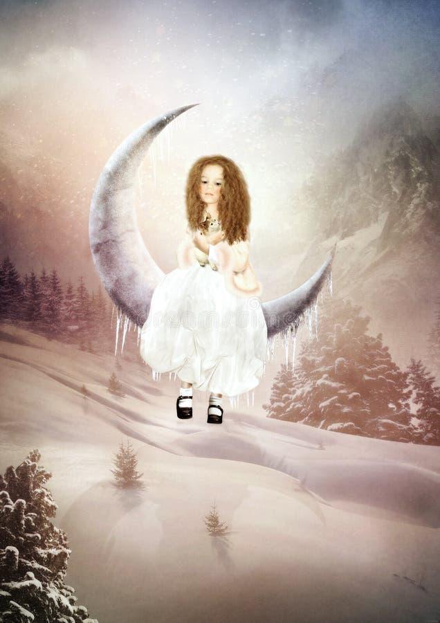 Menina que balança na lua ilustração do vetor
