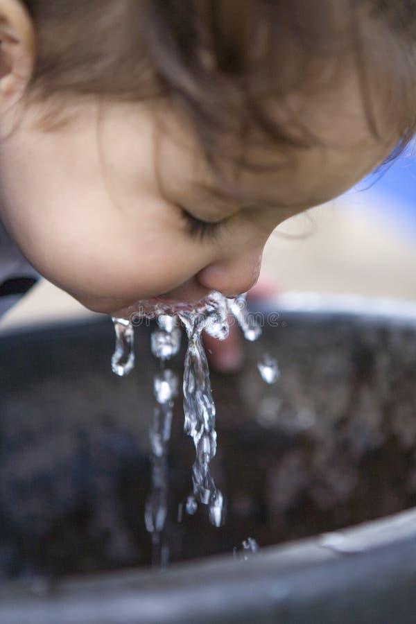 Menina que bebe de uma fonte de água no parque fotografia de stock