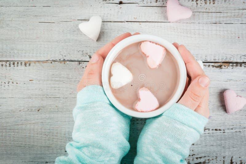 Menina que bebe o chocolate quente com corações do ` s dos marshmallows fotografia de stock royalty free