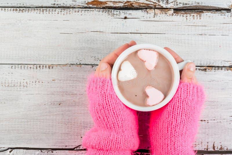 Menina que bebe o chocolate quente com corações do ` s dos marshmallows foto de stock royalty free