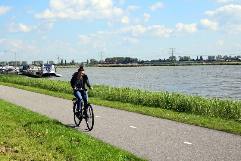 Menina que biking contra o vento contrário do te na paisagem holandesa fotos de stock