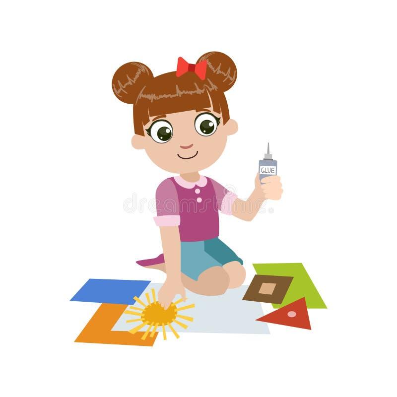 Menina que cola a aplicação de papel ilustração royalty free
