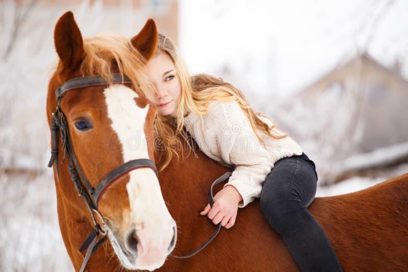Menina que coloca no pescoço do cavalo Fundo da amizade imagem de stock royalty free