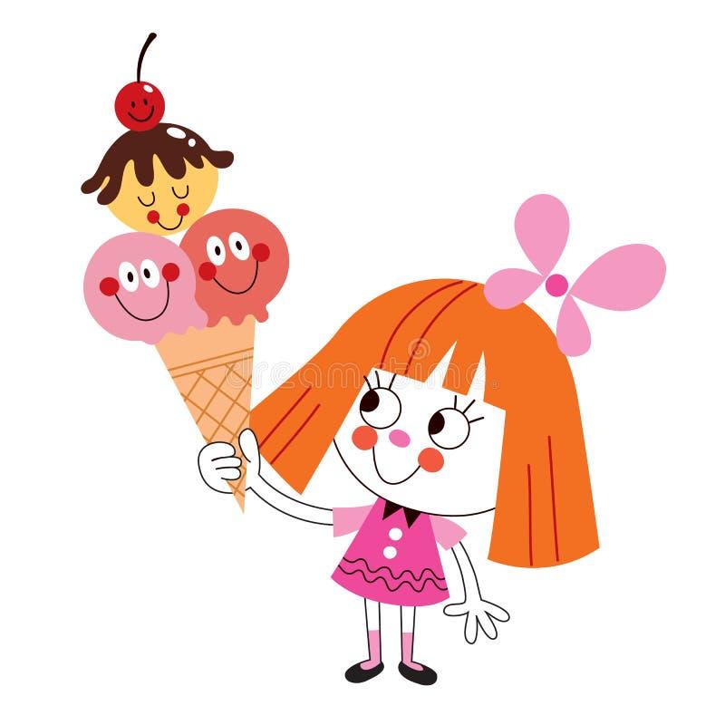 Menina que come o cone de gelado ilustração stock