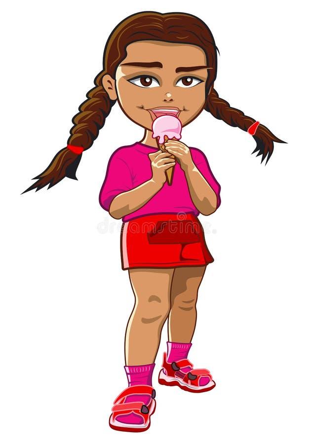 Menina que come o gelado ilustração royalty free