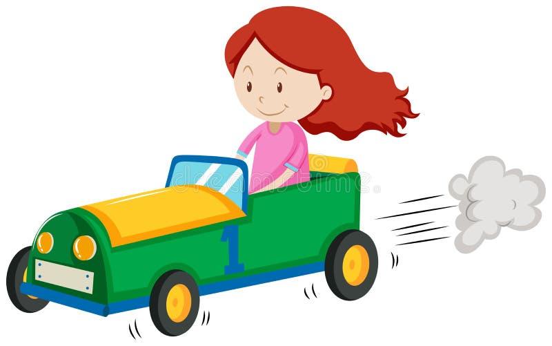 Menina que compete um carro ilustração stock
