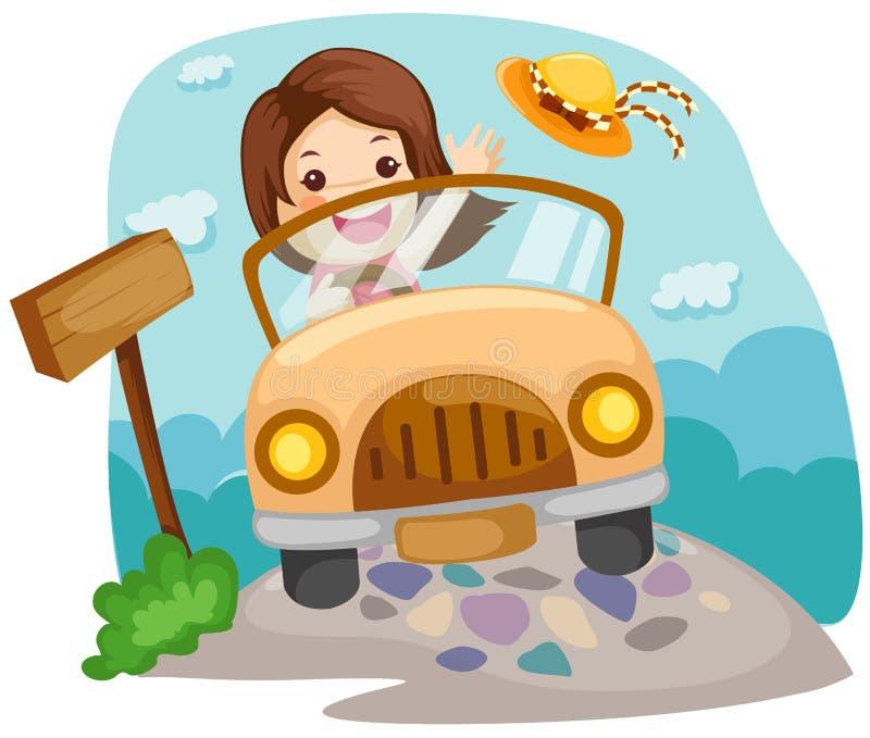 Menina que conduz um carro ilustração stock