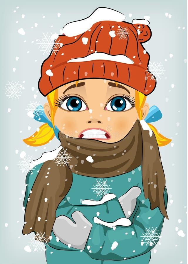 Menina que congela-se no frio do inverno que veste o chapéu e o revestimento de lã com lenço ilustração royalty free