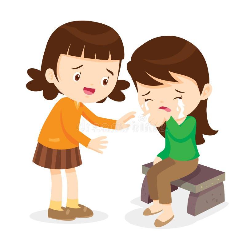 Menina que consola seu amigo de grito ilustração royalty free