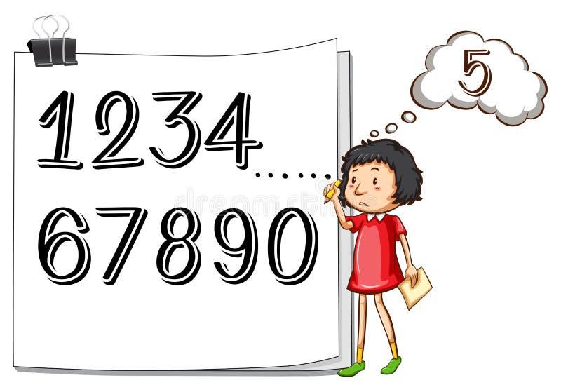 Menina que conta números no papel ilustração do vetor