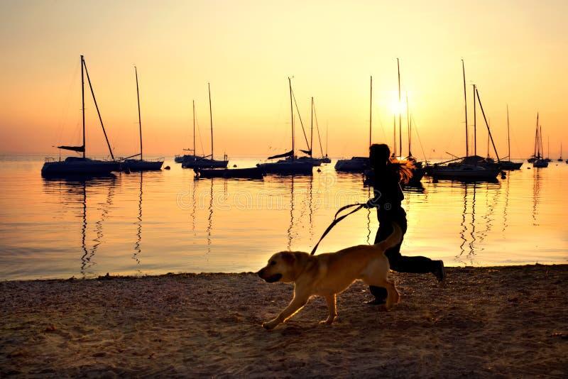 Menina que corre com seu cão pelo lago no por do sol fotografia de stock royalty free