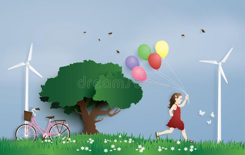 A menina que corre no campo com balão ilustração do vetor
